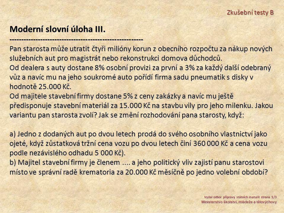 Moderní slovní úloha III.