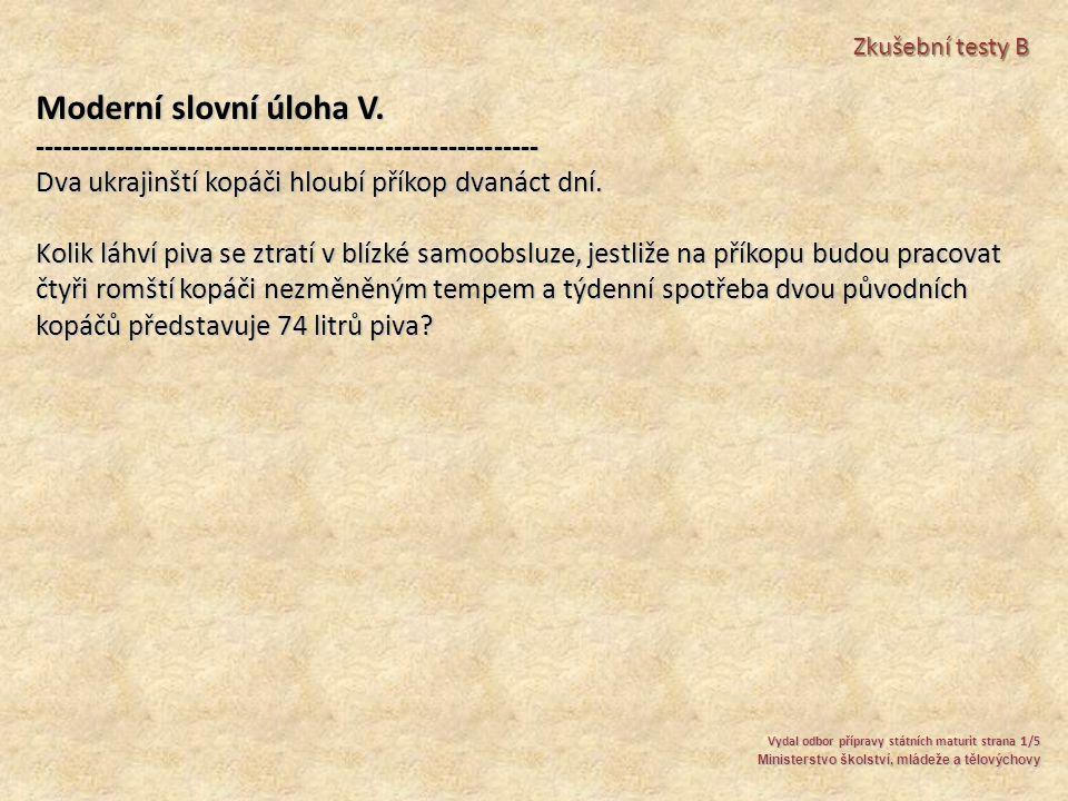 Moderní slovní úloha V.