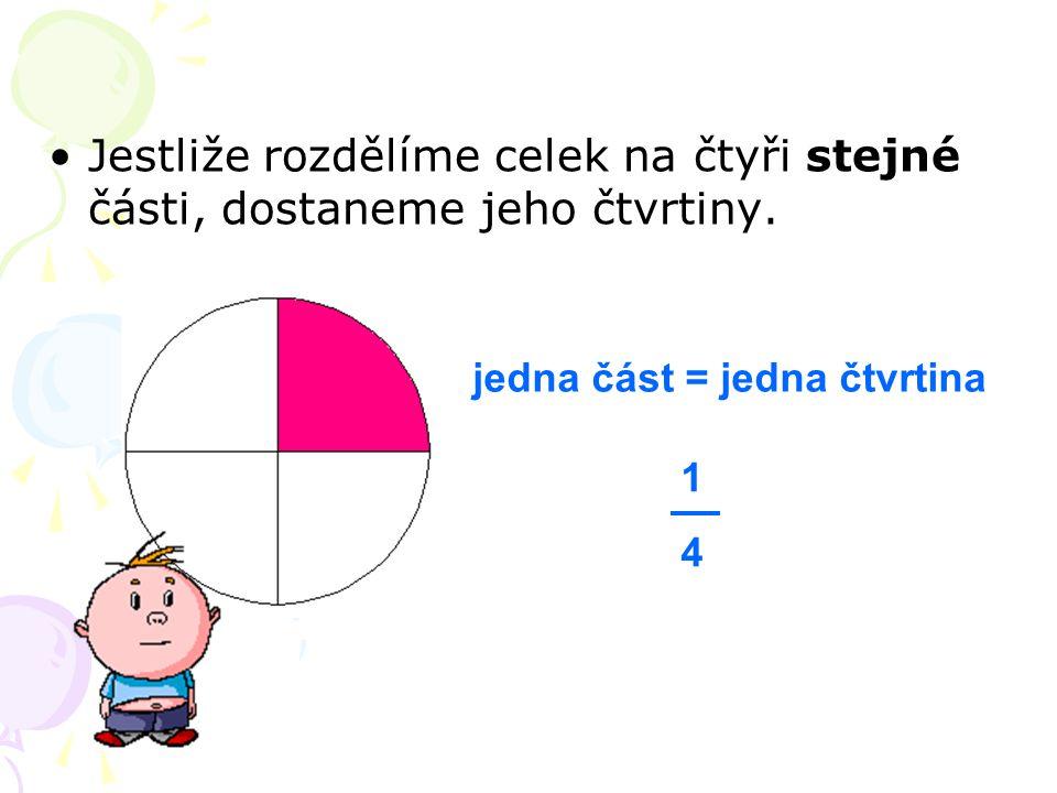 Jestliže rozdělíme celek na čtyři stejné části, dostaneme jeho čtvrtiny. jedna část = jedna čtvrtina 1414