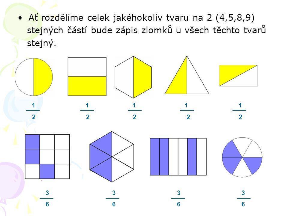 Ať rozdělíme celek jakéhokoliv tvaru na 2 (4,5,8,9) stejných částí bude zápis zlomků u všech těchto tvarů stejný. 1 1 1 1 1 2 2 2 2 2 3 3 3 3 6 6 6 6