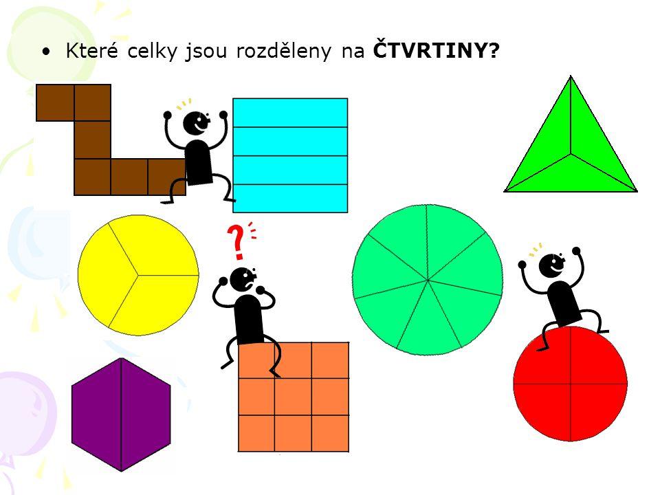 Které celky jsou rozděleny na ČTVRTINY?