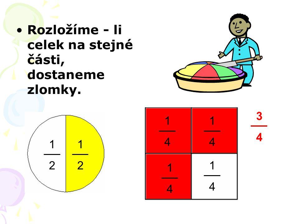 Zápis zlomků (jedna) polovina dvě poloviny 1 2 dvě třetiny (jedna) čtvrtina tři čtvrtiny (jedna) šestina čtyři šestiny (jedna) osmina sedm osmin (jedna) třetina