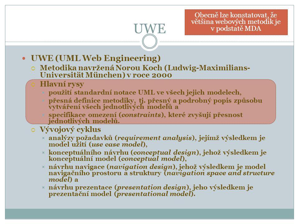 UWE UWE (UML Web Engineering)  Metodika navržená Norou Koch (Ludwig-Maximilians- Universität München) v roce 2000  Hlavní rysy  použití standardní notace UML ve všech jejich modelech,  přesná definice metodiky, tj.