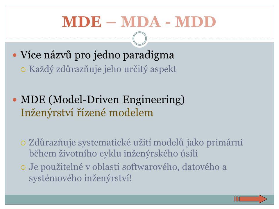 MDE – MDA - MDD Více názvů pro jedno paradigma  Každý zdůrazňuje jeho určitý aspekt MDE (Model-Driven Engineering) Inženýrství řízené modelem  Zdůrazňuje systematické užití modelů jako primární během životního cyklu inženýrského úsilí  Je použitelné v oblasti softwarového, datového a systémového inženýrství!