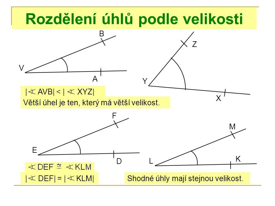 Rozdělení úhlů podle velikosti Větší úhel je ten, který má větší velikost. V B | AVB| < | XYZ| A Y Z X Shodné úhly mají stejnou velikost. E F D L M K
