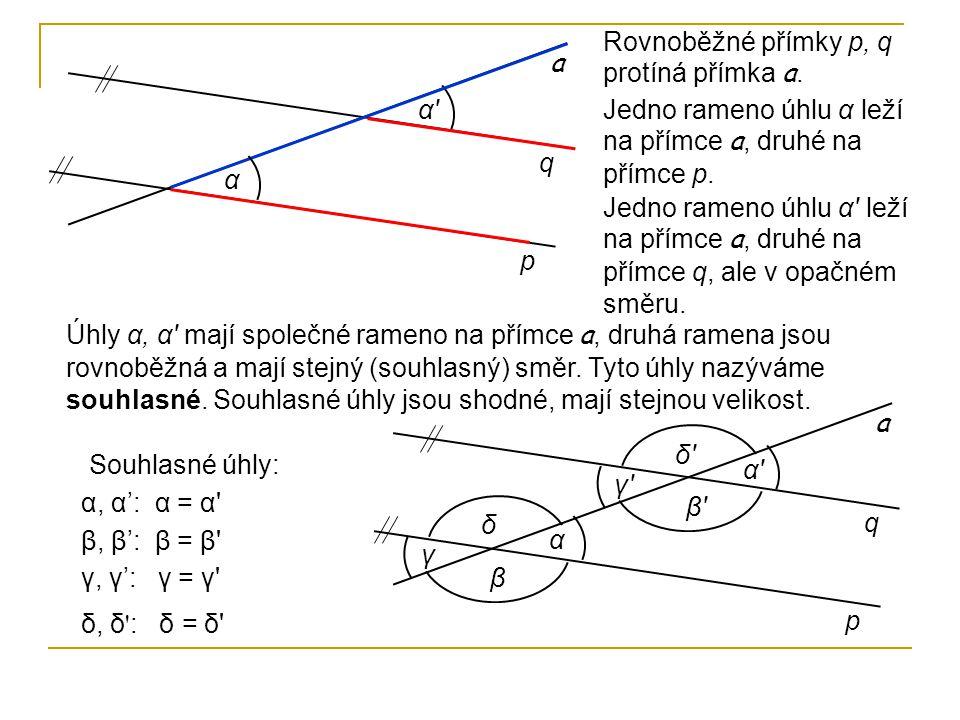 p q α' α Rovnoběžné přímky p, q protíná přímka a. a Jedno rameno úhlu α leží na přímce a, druhé na přímce p. Jedno rameno úhlu α' leží na přímce a, dr