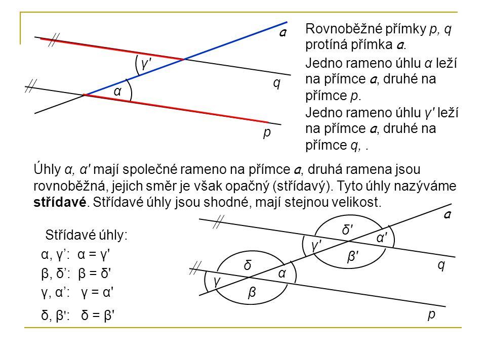 p q α Rovnoběžné přímky p, q protíná přímka a. a Jedno rameno úhlu α leží na přímce a, druhé na přímce p. Jedno rameno úhlu γ' leží na přímce a, druhé