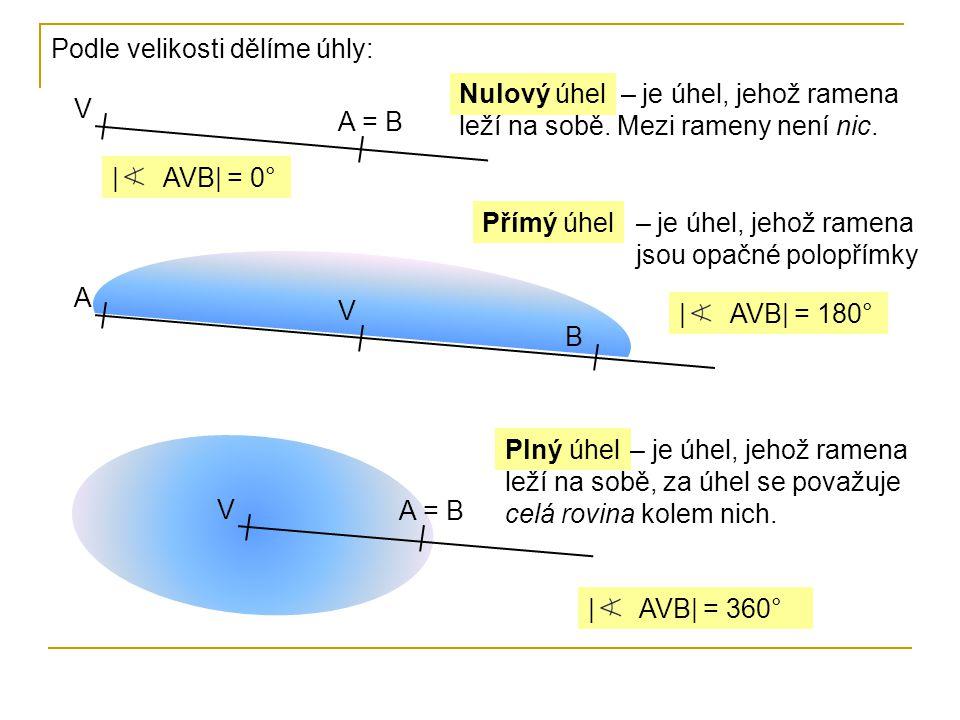 Podle velikosti dělíme úhly: V | AVB| = 0° Nulový úhel A = B – je úhel, jehož ramena leží na sobě. Mezi rameny není nic. A | AVB| = 180° Přímý úhel V