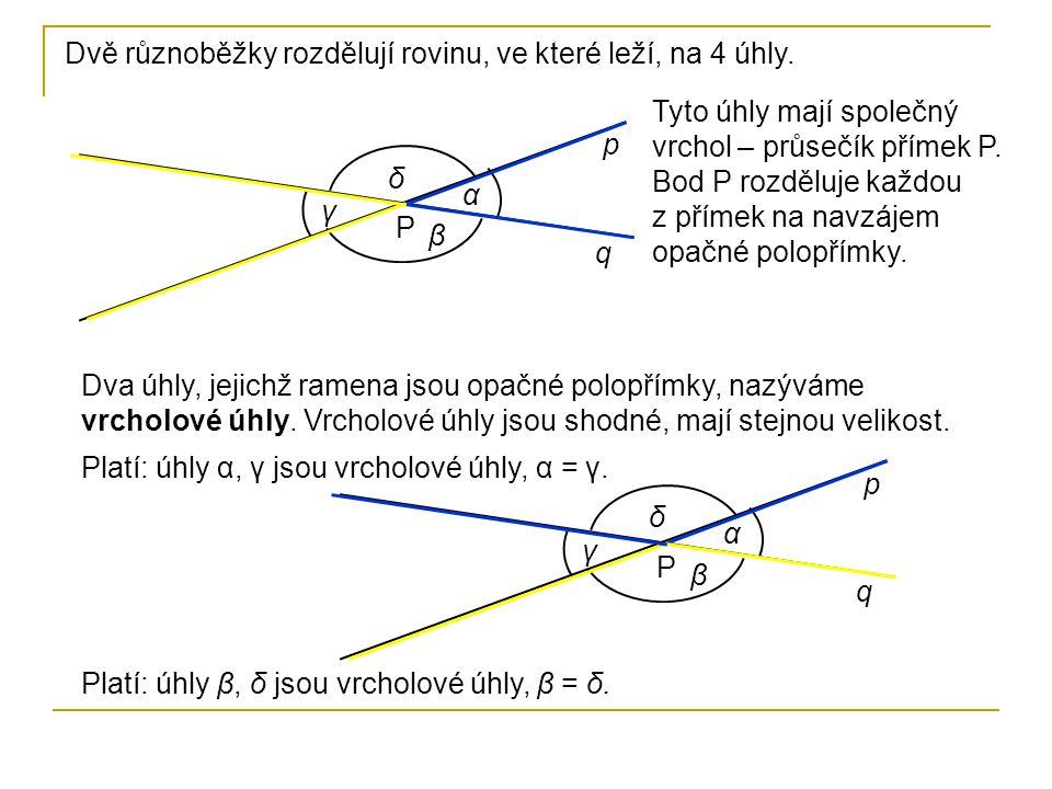 Dvě různoběžky rozdělují rovinu, ve které leží, na 4 úhly. p q P α β γ δ Dva úhly, jejichž ramena jsou opačné polopřímky, nazýváme vrcholové úhly. Vrc