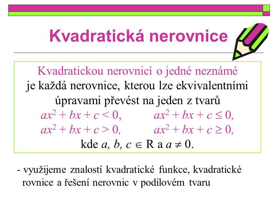 Kvadratická nerovnice Kvadratickou nerovnicí o jedné neznámé je každá nerovnice, kterou lze ekvivalentními úpravami převést na jeden z tvarů ax 2 + bx