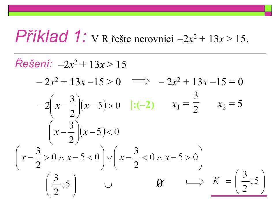 Příklad 1: V R řešte nerovnici –2x 2 + 13x > 15. Řešení: x1 =x1 = –2x 2 + 13x > 15 – 2x 2 + 13x –15 > 0– 2x 2 + 13x –15 = 0 x2 =x2 =5  :(–2)  0