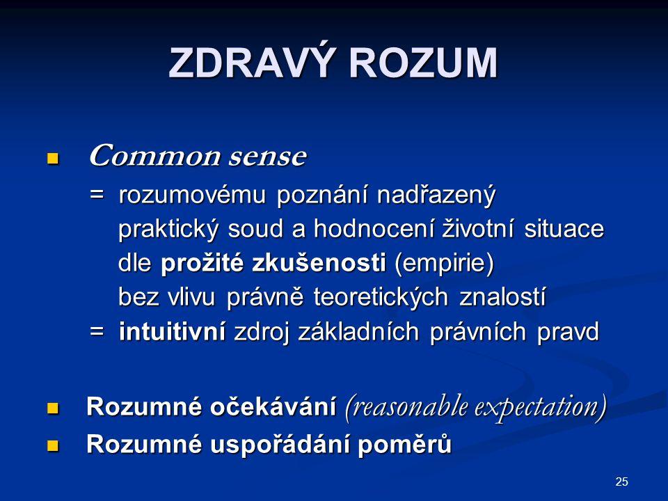25 ZDRAVÝ ROZUM Common sense Common sense = rozumovému poznání nadřazený = rozumovému poznání nadřazený praktický soud a hodnocení životní situace pra