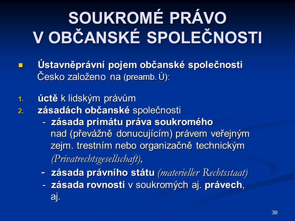 30 SOUKROMÉ PRÁVO V OBČANSKÉ SPOLEČNOSTI Ústavněprávní pojem občanské společnosti Ústavněprávní pojem občanské společnosti Česko založeno na (preamb.