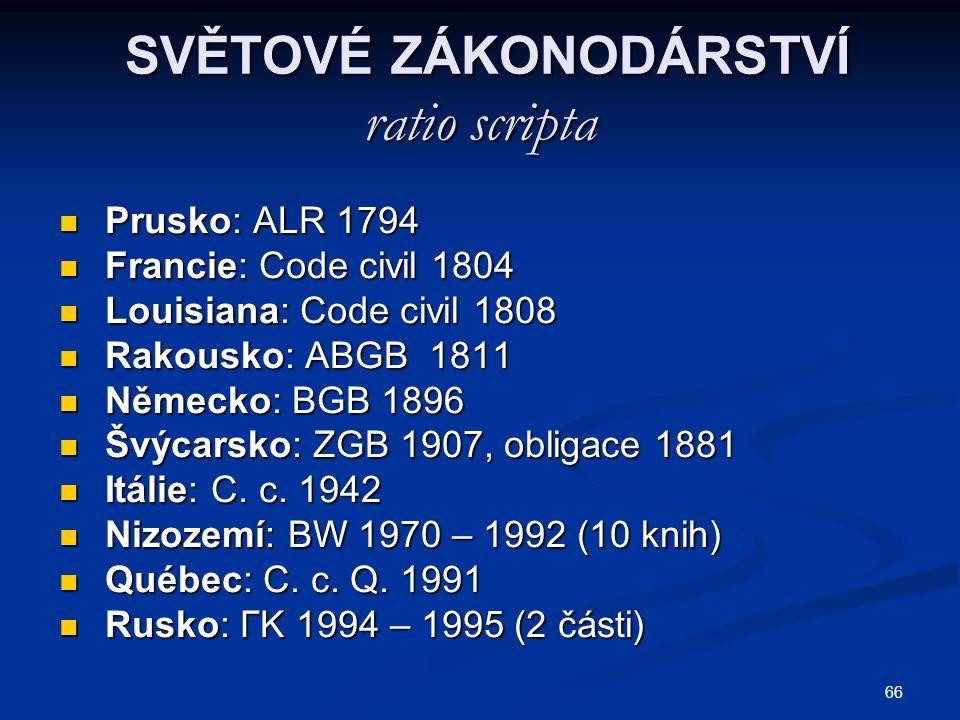 66 SVĚTOVÉ ZÁKONODÁRSTVÍ ratio scripta SVĚTOVÉ ZÁKONODÁRSTVÍ ratio scripta Prusko: ALR 1794 Prusko: ALR 1794 Francie: Code civil 1804 Francie: Code ci