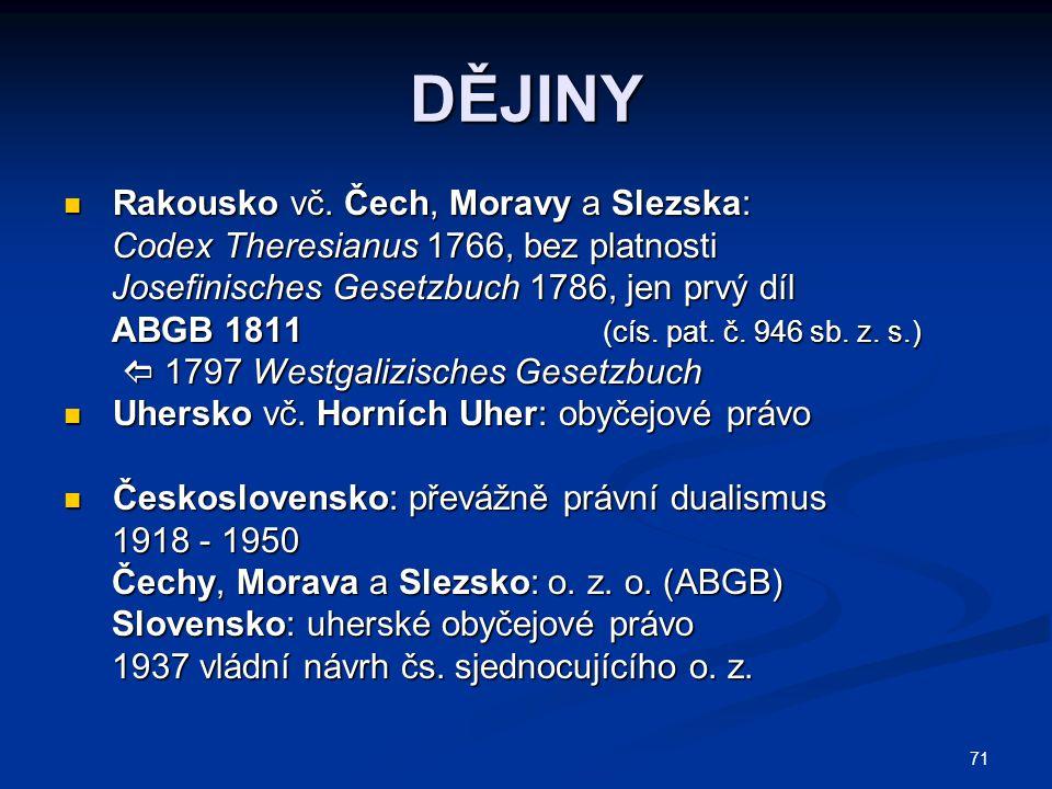 71 DĚJINY Rakousko vč. Čech, Moravy a Slezska: Rakousko vč. Čech, Moravy a Slezska: Codex Theresianus 1766, bez platnosti Codex Theresianus 1766, bez