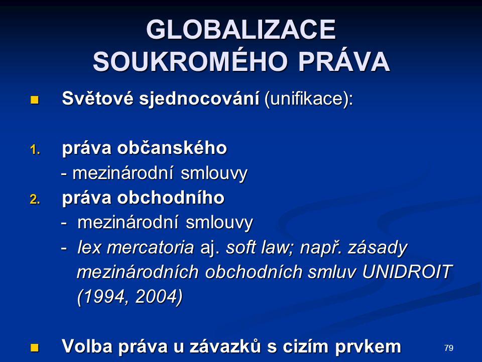 79 GLOBALIZACE SOUKROMÉHO PRÁVA Světové sjednocování (unifikace): Světové sjednocování (unifikace): 1. práva občanského - mezinárodní smlouvy - meziná