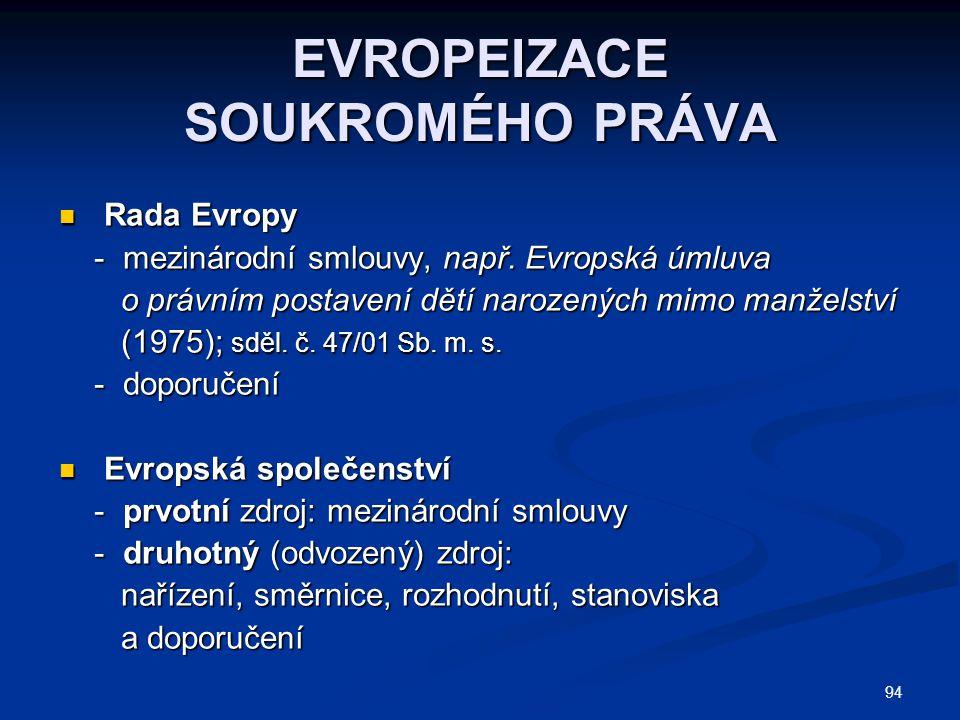 94 EVROPEIZACE SOUKROMÉHO PRÁVA Rada Evropy Rada Evropy - mezinárodní smlouvy, např. Evropská úmluva - mezinárodní smlouvy, např. Evropská úmluva o pr
