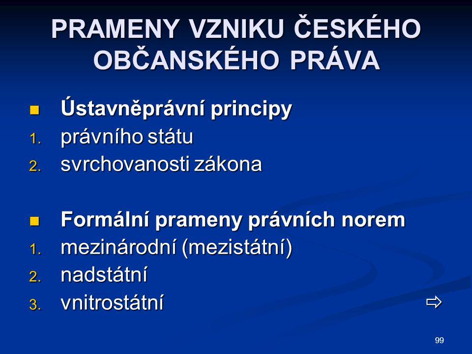 99 PRAMENY VZNIKU ČESKÉHO OBČANSKÉHO PRÁVA Ústavněprávní principy Ústavněprávní principy 1. právního státu 2. svrchovanosti zákona Formální prameny pr