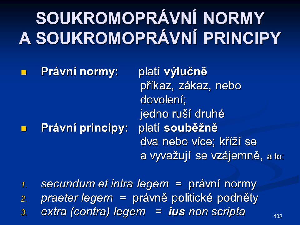 102 SOUKROMOPRÁVNÍ NORMY A SOUKROMOPRÁVNÍ PRINCIPY Právní normy: platí výlučně Právní normy: platí výlučně příkaz, zákaz, nebo příkaz, zákaz, nebo dovolení; dovolení; jedno ruší druhé jedno ruší druhé Právní principy: platí souběžně Právní principy: platí souběžně dva nebo více; kříží se dva nebo více; kříží se a vyvažují se vzájemně, a to: a vyvažují se vzájemně, a to: 1.