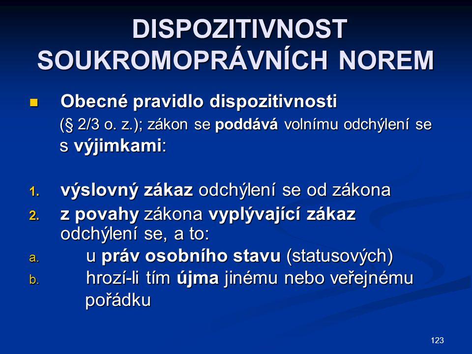 123 DISPOZITIVNOST SOUKROMOPRÁVNÍCH NOREM DISPOZITIVNOST SOUKROMOPRÁVNÍCH NOREM Obecné pravidlo dispozitivnosti Obecné pravidlo dispozitivnosti (§ 2/3 o.
