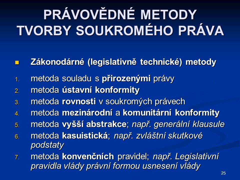25 PRÁVOVĚDNÉ METODY TVORBY SOUKROMÉHO PRÁVA Zákonodárné (legislativně technické) metody Zákonodárné (legislativně technické) metody 1.