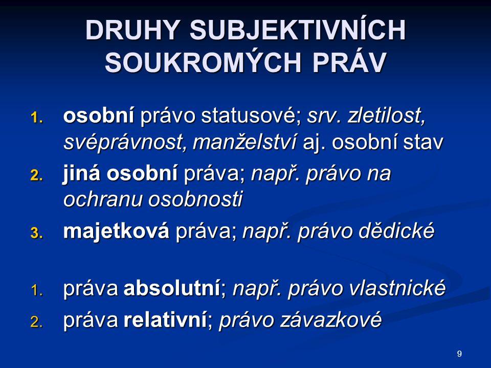 9 DRUHY SUBJEKTIVNÍCH SOUKROMÝCH PRÁV 1.osobní právo statusové; srv.