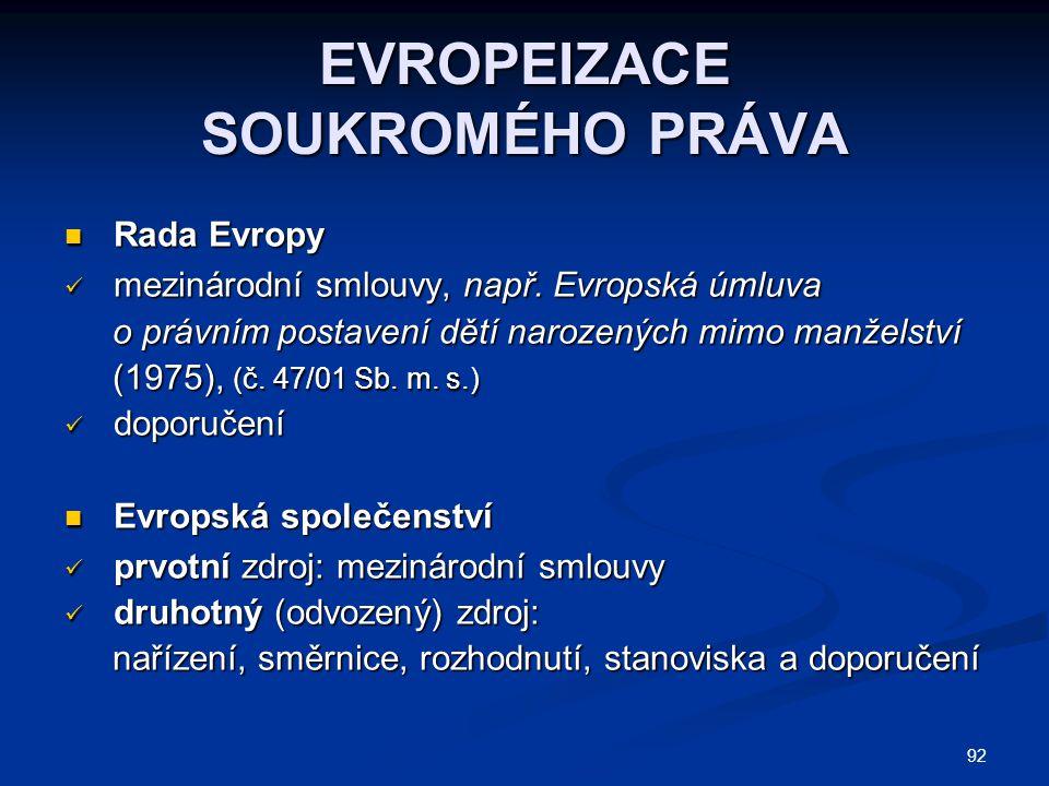 92 EVROPEIZACE SOUKROMÉHO PRÁVA Rada Evropy Rada Evropy mezinárodní smlouvy, např.