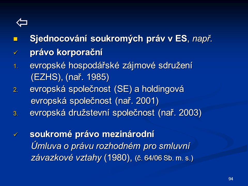 94  Sjednocování soukromých práv v ES, např.Sjednocování soukromých práv v ES, např.