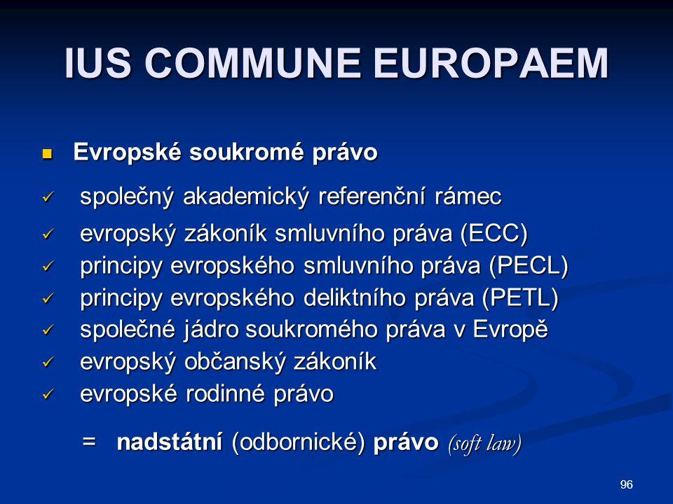 96 IUS COMMUNE EUROPAEM Evropské soukromé právo Evropské soukromé právo společný akademický referenční rámec společný akademický referenční rámec evropský zákoník smluvního práva (ECC) evropský zákoník smluvního práva (ECC) principy evropského smluvního práva (PECL) principy evropského smluvního práva (PECL) principy evropského deliktního práva (PETL) principy evropského deliktního práva (PETL) společné jádro soukromého práva v Evropě společné jádro soukromého práva v Evropě evropský občanský zákoník evropský občanský zákoník evropské rodinné právo evropské rodinné právo = nadstátní (odbornické) právo (soft law) = nadstátní (odbornické) právo (soft law)
