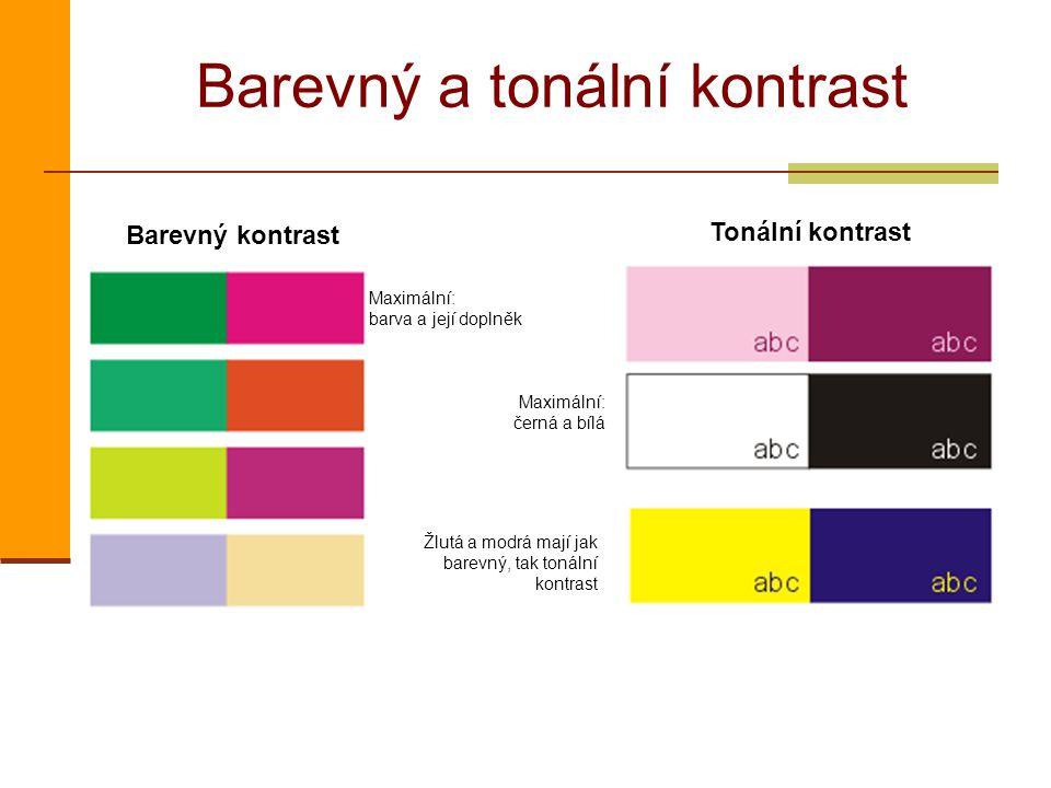 Barevný a tonální kontrast Barevný kontrast Tonální kontrast Maximální: barva a její doplněk Maximální: černá a bílá Žlutá a modrá mají jak barevný, t