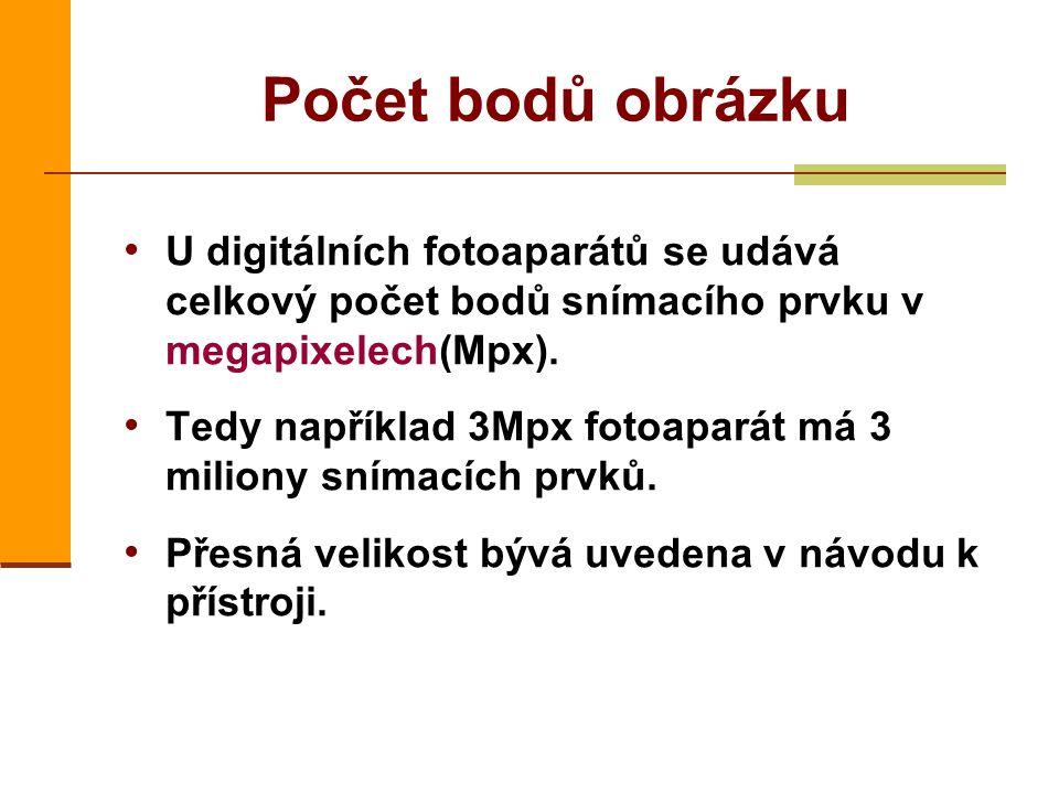 U digitálních fotoaparátů se udává celkový počet bodů snímacího prvku v megapixelech(Mpx).