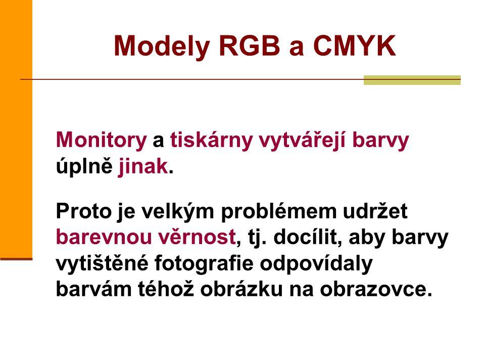 Modely RGB a CMYK Monitory a tiskárny vytvářejí barvy úplně jinak. Proto je velkým problémem udržet barevnou věrnost, tj. docílit, aby barvy vytištěné