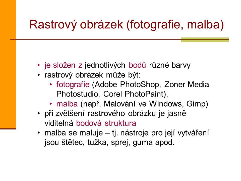 Rastrový obrázek (fotografie, malba) je složen z jednotlivých bodů různé barvy rastrový obrázek může být: fotografie (Adobe PhotoShop, Zoner Media Photostudio, Corel PhotoPaint), malba (např.
