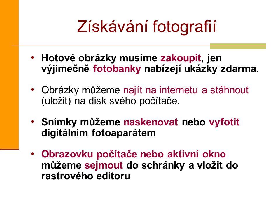 Získávání fotografií Hotové obrázky musíme zakoupit, jen výjimečně fotobanky nabízejí ukázky zdarma. Obrázky můžeme najít na internetu a stáhnout (ulo