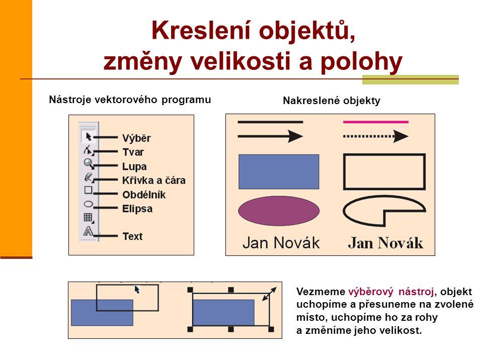 Kreslení objektů, změny velikosti a polohy Nástroje vektorového programu Nakreslené objekty Vezmeme výběrový nástroj, objekt uchopíme a přesuneme na z