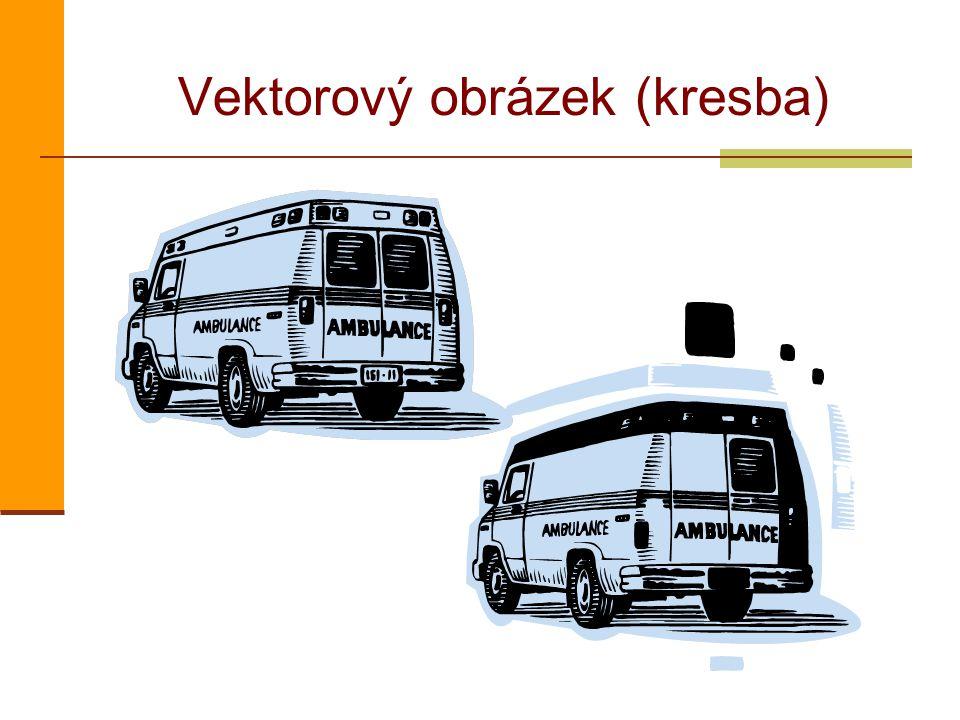 Rastry a vektory rastrový obrázek vektorový obrázek Při zvětšení je vidět bodová struktura rastrového obrázku, vektorový zůstává stále hladký.