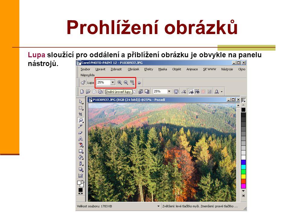Prohlížení obrázků Lupa sloužící pro oddálení a přiblížení obrázku je obvykle na panelu nástrojů.