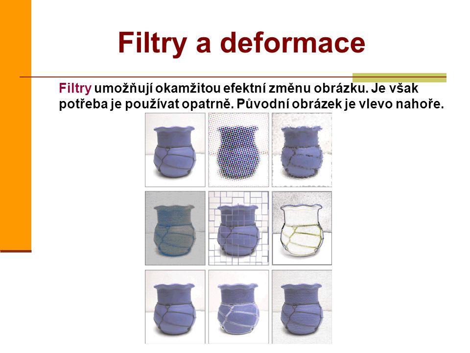 Filtry a deformace Filtry umožňují okamžitou efektní změnu obrázku. Je však potřeba je používat opatrně. Původní obrázek je vlevo nahoře.