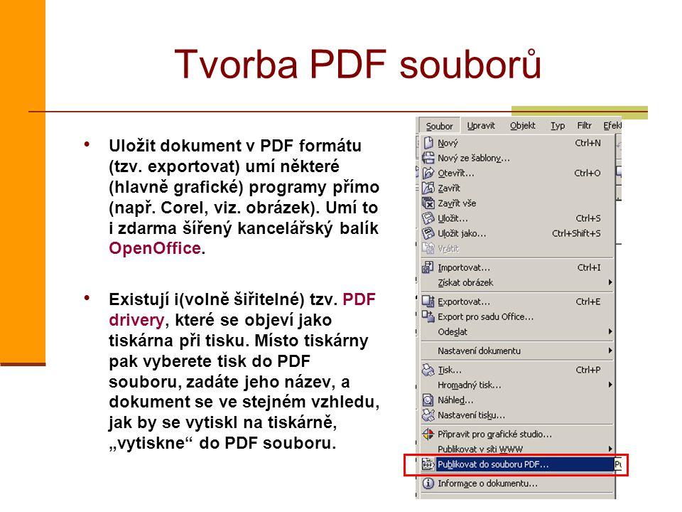 Tvorba PDF souborů Uložit dokument v PDF formátu (tzv. exportovat) umí některé (hlavně grafické) programy přímo (např. Corel, viz. obrázek). Umí to i