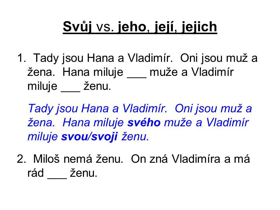 Svůj vs. jeho, její, jejich 1. Tady jsou Hana a Vladimír.