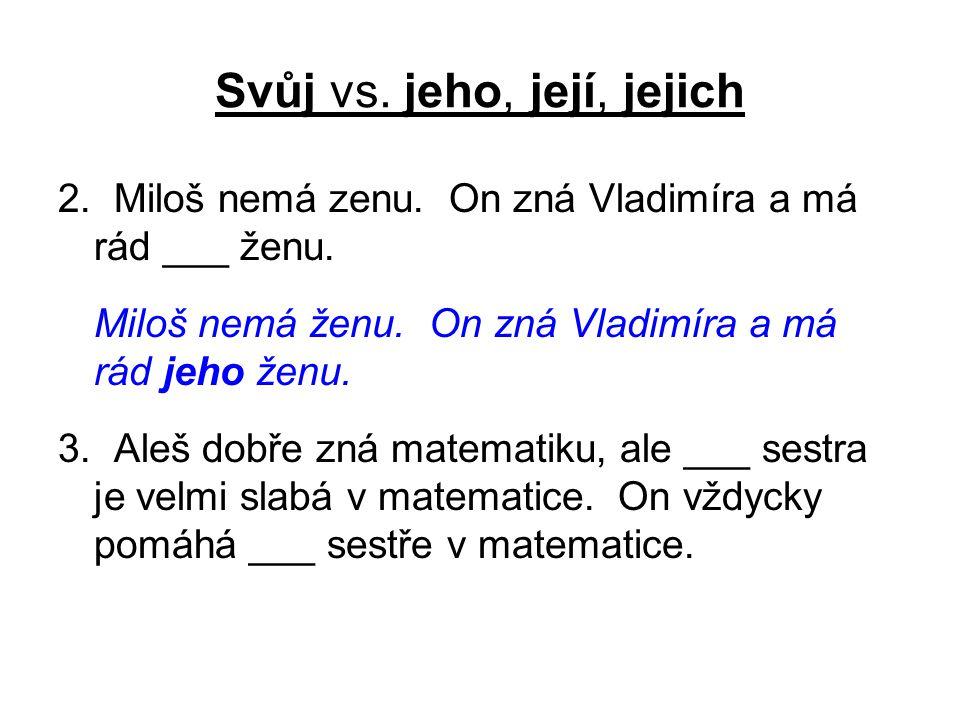 Svůj vs. jeho, její, jejich 2. Miloš nemá zenu. On zná Vladimíra a má rád ___ ženu.