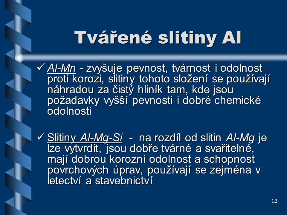 12 Tvářené slitiny Al Al-Mn - zvyšuje pevnost, tvárnost i odolnost proti korozi, slitiny tohoto složení se používají náhradou za čistý hliník tam, kde