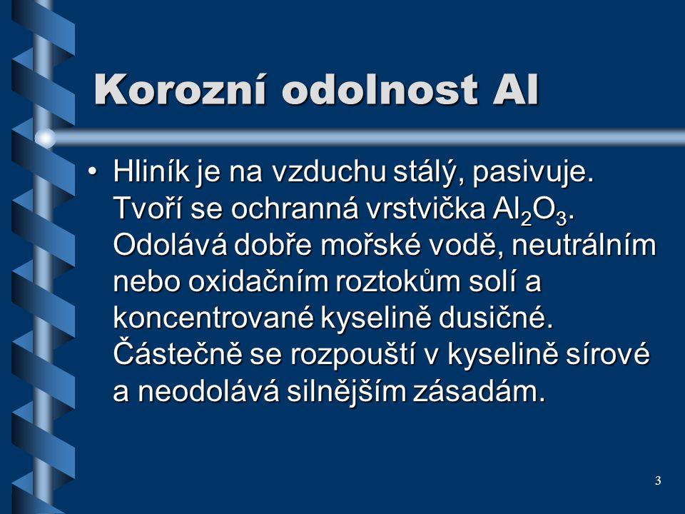 3 Korozní odolnost Al Hliník je navzduchu stálý, pasivuje. Tvoří se ochranná vrstvička Al 2 O 3. Odolává dobře mořské vodě, neutrálním nebo oxidačním
