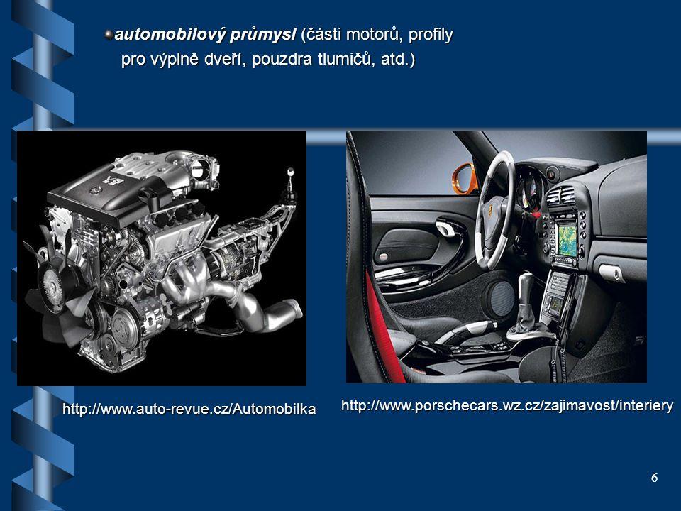 6 automobilový průmysl (části motorů, profily pro výplně dveří, pouzdra tlumičů, atd.) pro výplně dveří, pouzdra tlumičů, atd.) http://www.auto-revue.