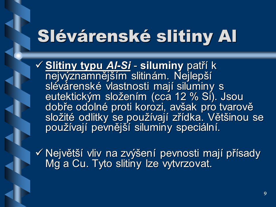9 Slévárenské slitiny Al Slitiny typu Al-Si - siluminy patří k nejvýznamnějším slitinám. Nejlepší slévárenské vlastnosti mají siluminy s eutektickým s