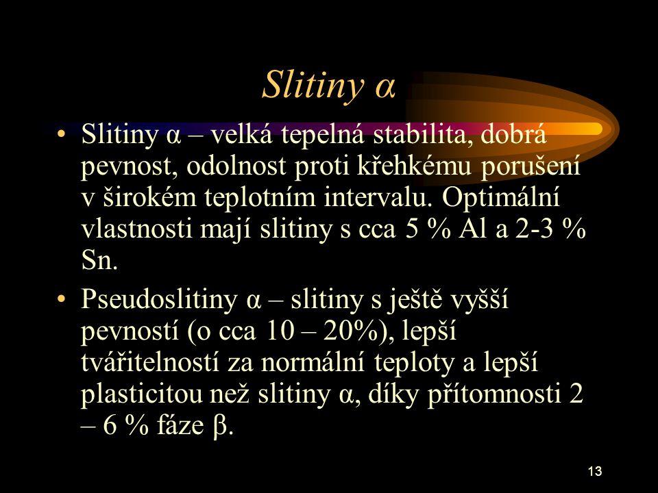 13 Slitiny α Slitiny α – velká tepelná stabilita, dobrá pevnost, odolnost proti křehkému porušení v širokém teplotním intervalu. Optimální vlastnosti