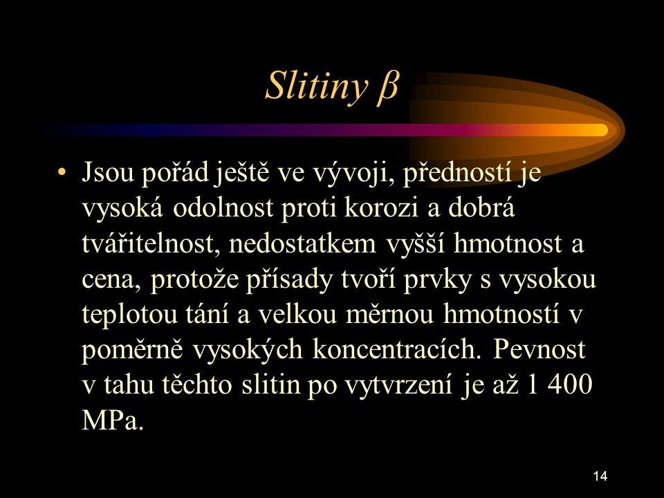 14 Slitiny β Jsou pořád ještě ve vývoji, předností je vysoká odolnost proti korozi a dobrá tvářitelnost, nedostatkem vyšší hmotnost a cena, protože př