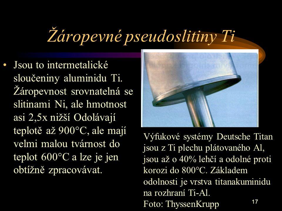 17 Žáropevné pseudoslitiny Ti Jsou to intermetalické sloučeniny aluminidu Ti. Žáropevnost srovnatelná se slitinami Ni, ale hmotnost asi 2,5x nižší Odo