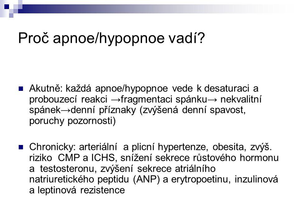 Proč apnoe/hypopnoe vadí? Akutně: každá apnoe/hypopnoe vede k desaturaci a probouzecí reakci →fragmentaci spánku→ nekvalitní spánek→denní příznaky (zv