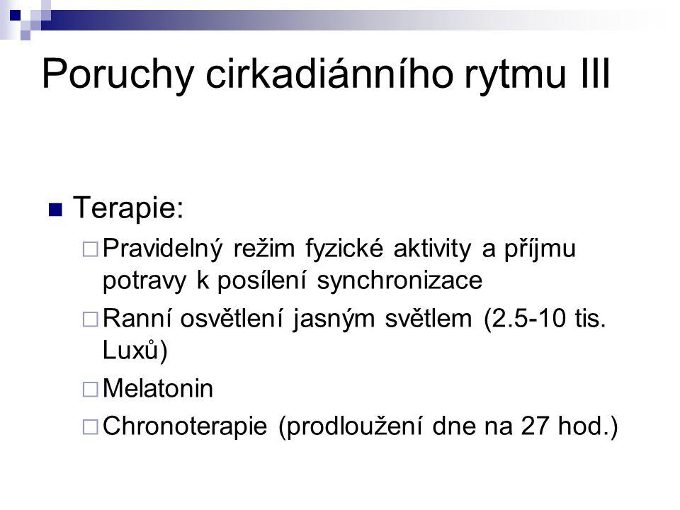 Poruchy cirkadiánního rytmu III Terapie:  Pravidelný režim fyzické aktivity a příjmu potravy k posílení synchronizace  Ranní osvětlení jasným světlem (2.5-10 tis.